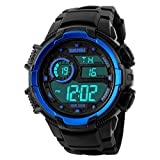 TYF Men's Sport Watch Large Face Digital Electronic Day Date Multifunction Watch 5ATM Waterproof with Back Light