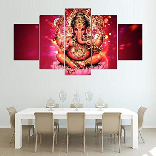 FidgetGear ガネーシャ象ヒンズー教の神5ピース絵画プリントキャンバスウォールアートホーム装飾 フレーム付き   B07Q36WWMT
