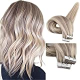 Fshine 14Inch Blonde Highlighted Human Hair Tape in Hair Extensions Pastel Hair Dye Color #22 Highlighted Color #18 Ash Blonde Glue in Remy Hair Extensions 20Pcs 50gram Per Package