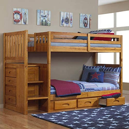 American Furniture Classics Mission Staircase Honey Bunk Bed