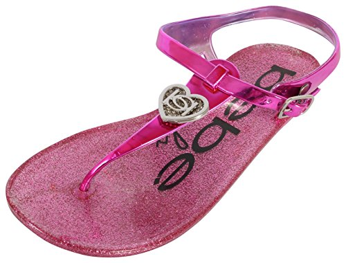 bebe Girls Rhinestone Glitter Heart Jelly Sandals - Metallic Flip Flop Shoes, Fuchsia, 2-3 M US Little Kid' -
