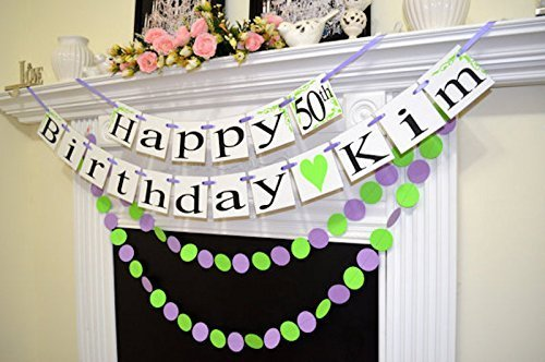 Amazon Happy 50th Birthday Green Purple Banner Garland Girls Sign Decorations Personalized Name Custom