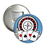 Poker Chips Turntable Illustration Round Bottle Opener Refrigerator Magnet Badge Button 3pcs Gift