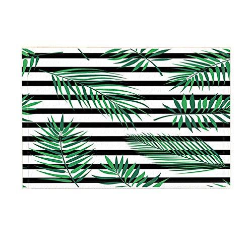 - Plant Bath Rugs Black and White Striped with Green Leaf Non-Slip Doormat Floor Entryways Indoor Front Door Mat Kids Bath Mat 15.7X23.6In Bathroom Accessories