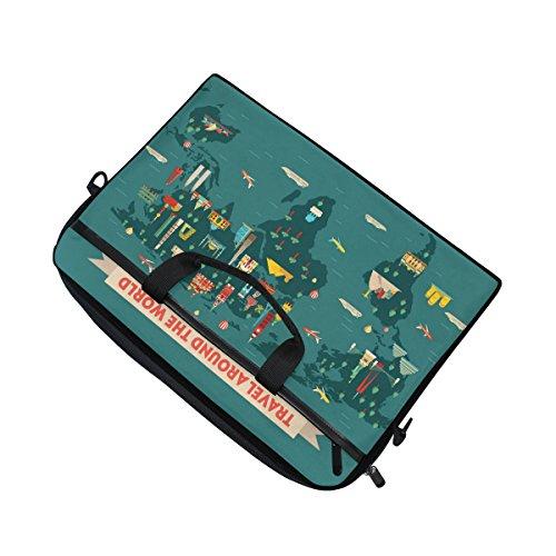 jstel World Travel Map Laptop Schulter Messenger Tasche Fall Sleeve für 35,6cm zu 39,6cm mit verstellbarer Notebook Schultergurt