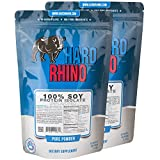 Hard Rhino 100% Soy Protein Isolate Powder, 1 Kilogram (2.2 Lbs), Unflavored, Lab-Tested, Scoop Included, 55 Servings