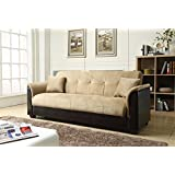 NHI Express Melanie Futon Sofa Bed with Storage, Brown