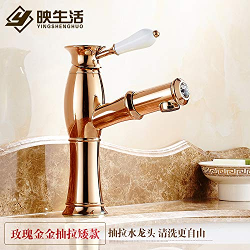 4 LHbox Basin Mixer Tap Bathroom Sink Faucet Pull-down faucet basin gold taps continental gold-copper antique hot and cold single hole basin mixer, silver-white porcelain,