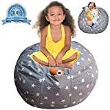 Extra Large Stuffed Animal Storage Bean Bag Cover | Europe Made & Lab Tested Fabric | The Ultimate Storage Solution To Clean Up & Organize Kid's Room | Free E-Book (Unisex Grey)
