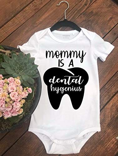 Mommy Is A Dental Hygenius, Toddler Infant Unique Gift Tee, one-piece, bodysuit, creeper, birthday, dental hygienist shirt, kids dentist shirts