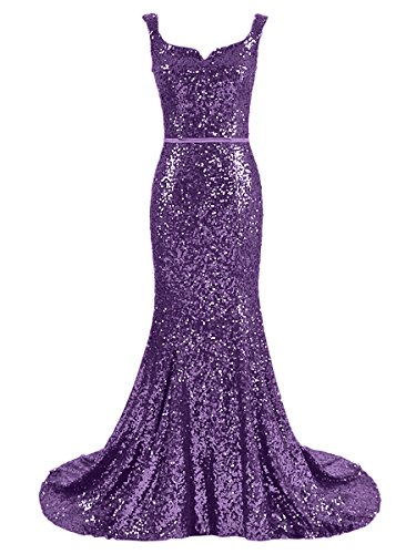 Off Shoulder Women's Dressesonline Dress Dresses Bridesmaid Formal Mermaid Purple Sequins Prom PXrPF