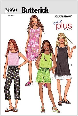 BUTTERICK PATTERNS B3860 Girls'/Girls' Plus Top, Dress, Shorts & Pants, Size 8 1/2-10 1/2-12 1/2-14 1/2-16 1/2 – The Super Cheap
