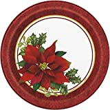 Holly Poinsettia Holiday Dinner Plates, 8ct