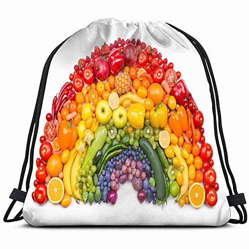 Fruit Vegetable Rainbow Food And Drink Objects Drawstring Backpack Bag For Kids Boys Girls Teens Birthday, Gift String Bag Gym Cinch Sack For School And Party
