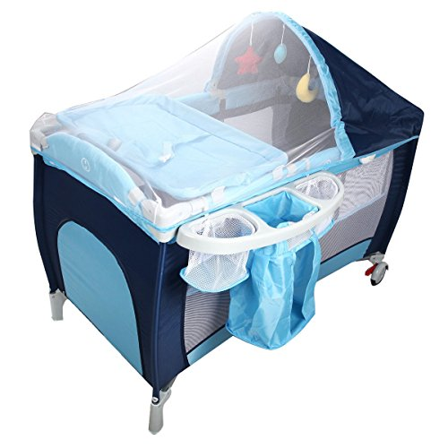 MD Group Baby Crib Playpen Foldable Double Tier Blue Oxford Cloth w/ Mosquito Net and Bag