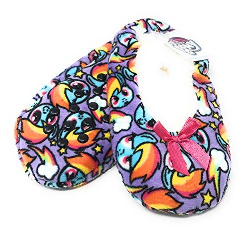 My Little Pony Rainbow Dash Girls' Babba Fuzzy Slipper Sock Fleece Faux Fur (M/L, Multicolored) -