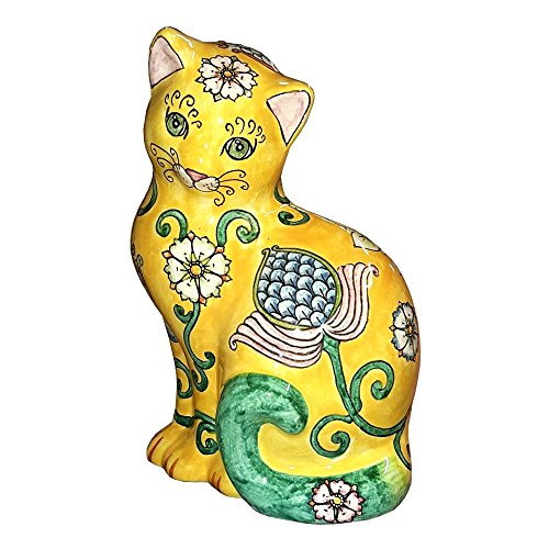Ceramiche d'arte Parrini - Big Cat Figurine Hand Painted Deruta Ceramic Art Pottery