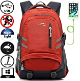 Backpack Bookbag For School College Student Travel Business With USB Charging Port Water Resistant Fit Laptop Up to 15.6 Inch Anti theft Night Light Reflective (Orange)