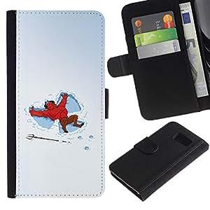 YiPhone /// Tirón de la caja Cartera de cuero con ranuras para tarjetas - Divertido Nieve Ángeles Diablo - Sony Xperia Z3 Compact
