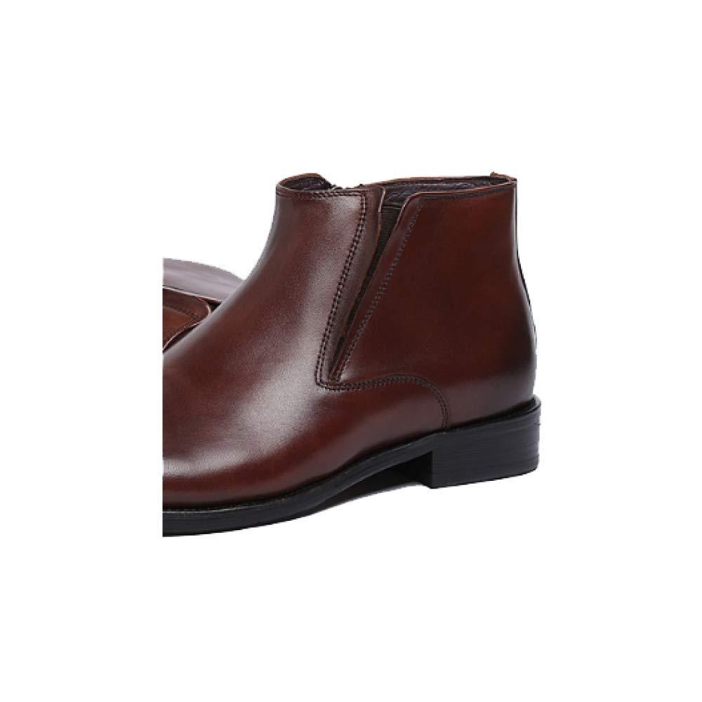 Herbst und Winter Männer Lederstiefel England Große Version Größe Kurze Stiefel Koreanische Version Große Business Comfort Braun 832c02