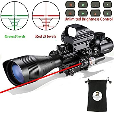 XOPin Rifle Scope Combo C4-16x50EG Dual Illuminated with Green Laser Sight 4 Holographic Reticle Red/Green Dot for Weaver/Rail Mount