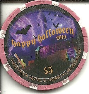 Vegas Halloween ($5 hard rock hotel happy halloween 2010 las vegas nevada casino chip)