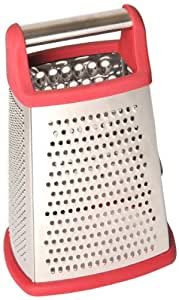 p!zazz 002-94R 10-Inch 4-Sided Red Stainless Steel Grater