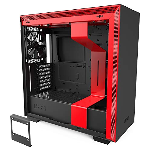 NZXT H710 - CA-H710B-BR - ATX Mid Tower PC Gaming Case - Front I/O USB Type-C Port - Quick-Release Tempered Glass Side Panel - Cable Management System - Water-Cooling Ready - Black/Red