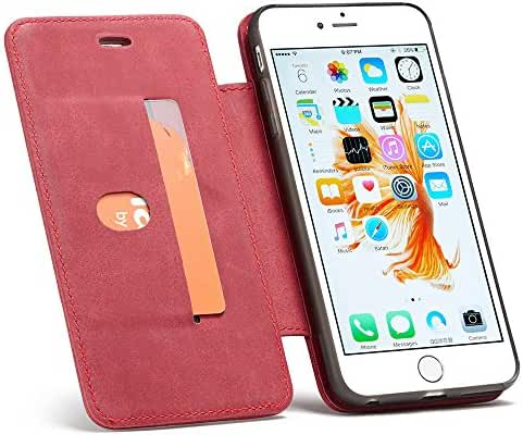 Leather Wallet Phone Case Protective Folio Flip Cover Removable Case with Ring Bracket for Iphone Samsung