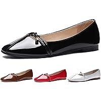 CINAK Comfort Women Flats- Cute Knot Slip On Dress Walking Shoes Square-Toe Casual Ballet
