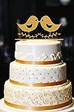 Love Birds Cake Topper, Wedding Cake Topper, Engagement Cake Topper, Anniversary Cake Topper, Gold Cake Topper, Gold Glitter Cake Topper (6'', Gold)