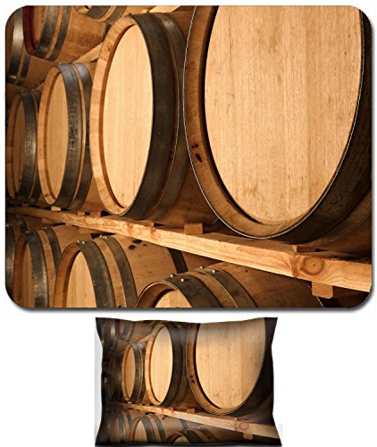 (Liili Mouse Wrist Rest and Small Mousepad Set, 2pc Wrist Support IMAGE ID: 927354 Stacked Oak barrels for maturing red wine and brandy in a cooling cellar Made from American and Ca)
