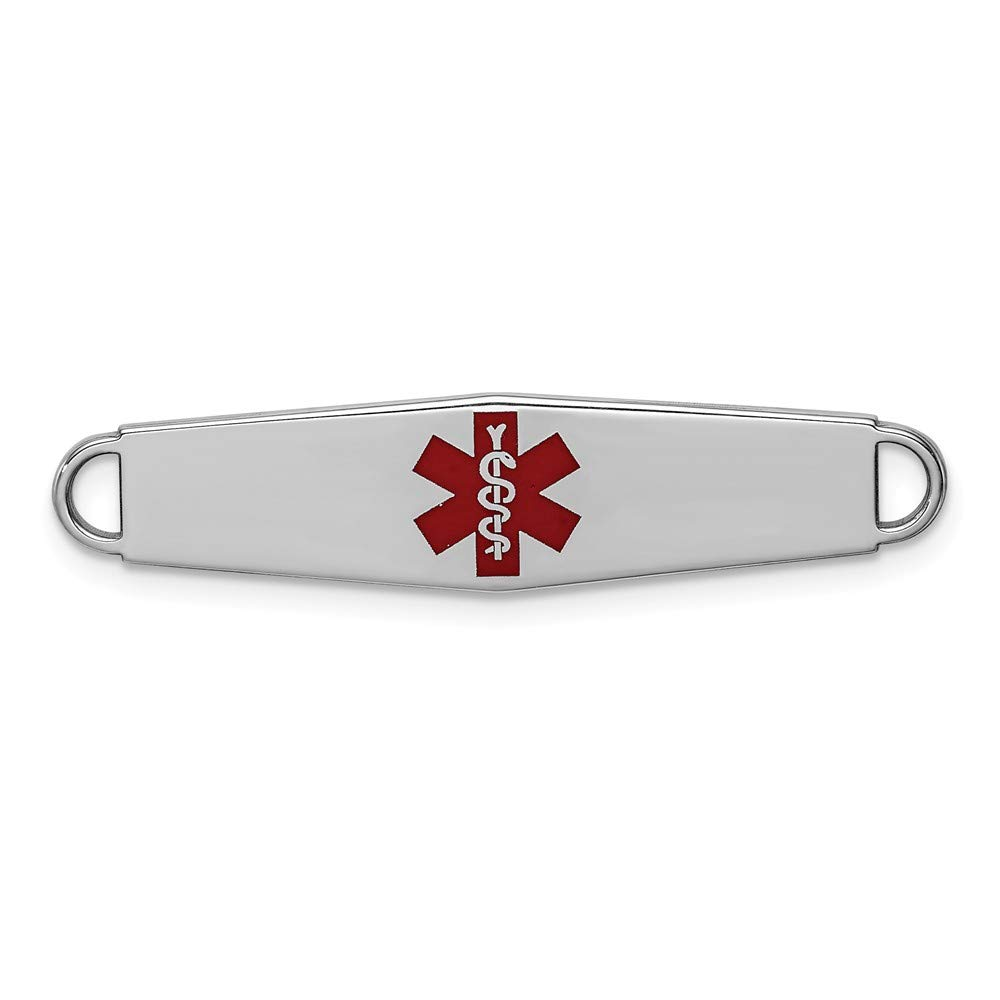 Jewel Tie Sterling Silver Rhod-plated Medical ID Plate 8mm x 33mm