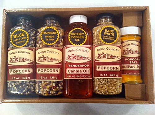 Amish Country Popcorn, Variety Gift Set, 1 Pint Canola , Ball Park Style Butter Salt