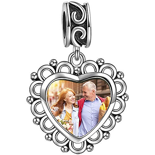 SOUFEEL 925 Sterling Silver Charms Engravable Personalized Photo Charm Pendant for Bracelets and (Heart Shaped Sterling Silver Charm)