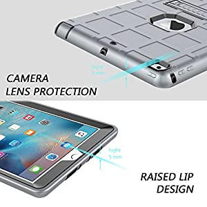 DONWELL iPad 9.7 inch case 2017 Released Heavy Duty Shockproof Defender Protective Armor Case Cover with Kickstand for Apple iPad 5 5th generation Model A1823 A1822 (Grey/Black)