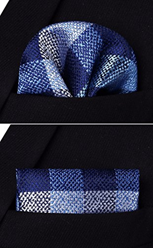 HISDERN Dot Set Blue Navy amp; Check Prom Blue Pocket Tie Party Striped Necktie Men's Handkerchief Square Wedding SRrqESwA