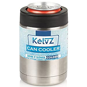 KelvZ Insulated Stainless Can Cooler Beer Holder – Fits All Standard 12oz Cans & Bottles + Bonus 2 Stylish Can Coolies – Bottle & Can Holder, No-Sweat Ergonomic Design – Sleek & Effective!