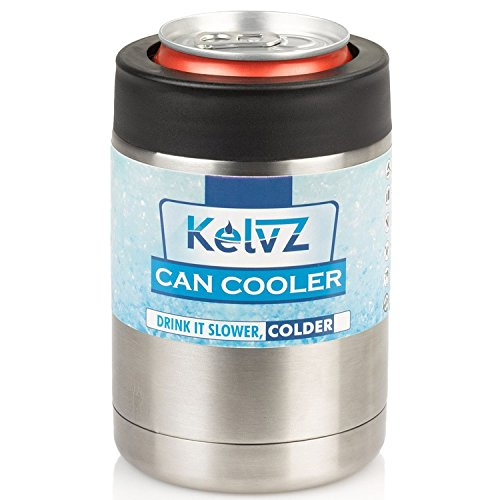 KelvZ Insulated Stainless Can Cooler Beer Holder - Fits All Standard 12oz Cans & Bottles + Bonus 2 Stylish Coolies - Top Quality Can & Bottle Insulator, No-Sweat Ergonomic Design - Sleek & Effective! by KelvZ