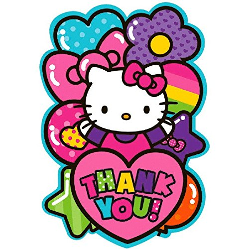- Adorable Hello Kitty Rainbow Postcard Birthday Party Thank You Cards (8 Pack), Pink, 4 1/4
