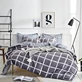 King Size Duvet Covers Uozzi Bedding 3 Piece Duvet Cover Set King, Reversible Printing with Brushed Microfiber, New Year gifts for Men, Women, Kids, Teens, Family (Black& White Plaid, King)