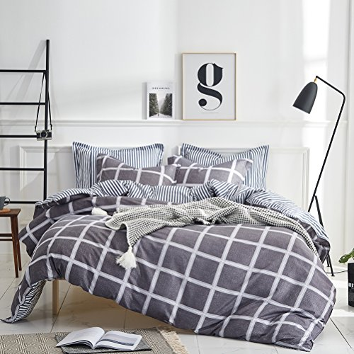 Uozzi Bedding 3 Piece Duvet Cover Set King, Reversible Printing with Brushed Microfiber, New Year gifts for Men, Women, Kids, Teens, Family (Black& White Plaid, King)