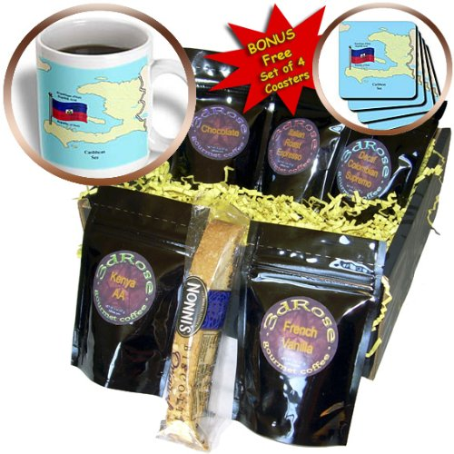 3dRose 777images Flags and Maps - North America - The flag, map of Haiti with the Republic of Haiti in English, French, Haitian Creole - Coffee Gift Baskets - Coffee Gift Basket (cgb_63254_1)