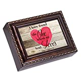 My Soul Loves Heart Song of Solomon 3:4 Burlwood Finish Jewelry Music Box Plays Canon in D
