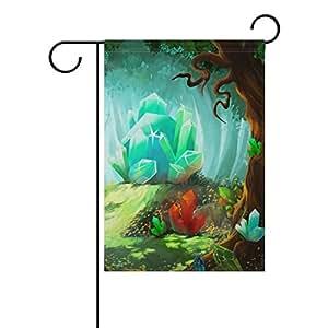 MyDaily Bandera decorativa de doble cara para jardín con cristales de dibujos animados, 30,5 x 45,7 cm, poliéster, multicolor, 28 x 40 inch