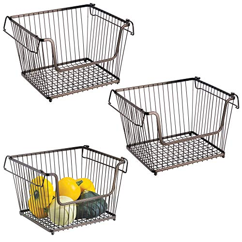 Modern Stackable Metal Storage Organizer Bin Basket with Handles, Open Front for Kitchen Cabinets, Pantry, Closets, Bedrooms, Bathrooms, Large, 3 Pack - Bronze