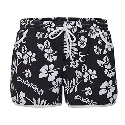 Yying Mujer Cintura Baja Shorts Cómodo Cintura Elástica Pantalón con Bolsillos Moda Estampado de Flores Casual Verano Pantalones Cortos Sueltos Shorts Negro