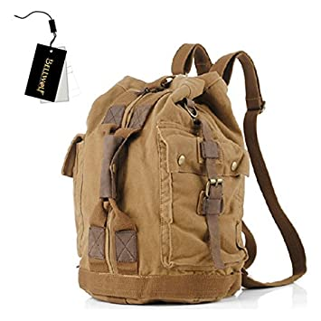 7ff5d7dafa Spear Men Women Vintage Outdoor Military US Army Canvas Leather Hiking Travel  Backpack School Bag Camping Bag 34 30 54cm Brown  Amazon.co.uk  Luggage