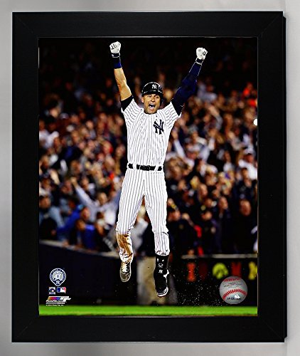 (Framed New York Yankees Derek Jeter. The Captain Plays His Last Game At Yankee Stadium 8x10 Photograph Picture. (Jump))