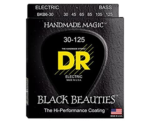 DR Strings BKB6-30 6-String Medium Black Beauties K3 Coated Electric Bass Guitar Strings (Dr Bass Guitar Strings For 6)